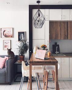 Home Decor Kitchen .Home Decor Kitchen Kitchen Room Design, Living Room Kitchen, Home Decor Kitchen, Interior Design Kitchen, Kitchen Layouts, Small Apartment Interior, Apartment Design, Home Bar Areas, Gothic Home Decor