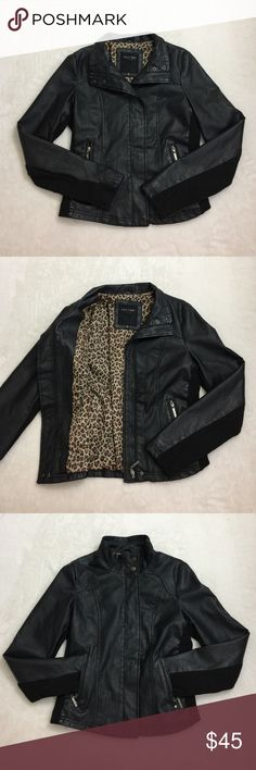 Faux Black Leather Jacket/ Cheetah print lined Edgy faux leather jacket. Super comfortable! Hits right at the waist line. In great condition! Jackets & Coats