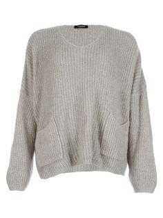 2 Pocket Knit Grey - Jenterommet Pocket, Knitting, Grey, Sweaters, Black, Fashion, Gray, Moda, Tricot