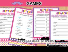 Add a ton of fun to your mustachecomicthemed baby shower with this set of 4 DIY printable fun games. #cupcakemakeover