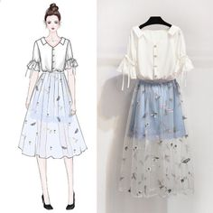 V-neck Ribbon Ornament Short Sleeve Tops Sweet Embroidery Skirt Set Fashion Drawing Dresses, Fashion Illustration Dresses, Fashion Dresses, Fashion Design Drawings, Fashion Sketches, Teen Fashion Outfits, Cute Fashion, Fashion Fashion, Dress Drawing