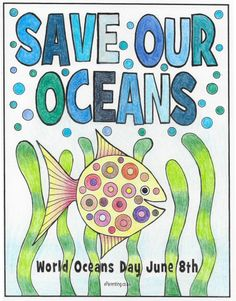 Free printable World Oceans Day colouring picture. A free printable colouring picture for you to print - enjoy! World Turtle Day, World Earth Day, Fun World, Save Our Oceans, Oceans Of The World, Coloring Pictures For Kids, Ocean Day, Ocean Pollution, Creative Curriculum