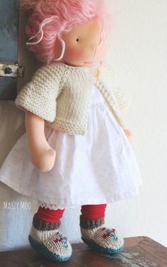 baby mocs and sweater by #maizymooknits doll by winterludes dolls