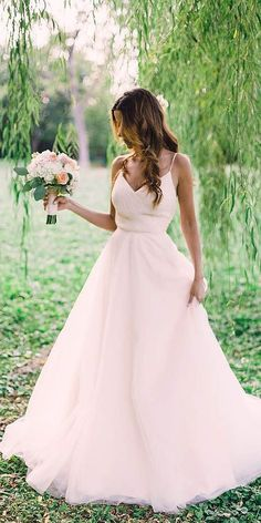 24 Stunning Peach & Blush Wedding Gowns You Must See ❤ See more: http://www.weddingforward.com/peach-blush-wedding-dresses/