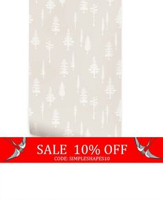 Sale  Tree With Birds Beige Peel & Stick Fabric by AccentuWall