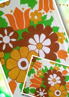 60s vintage swedish steady cotton fabric. Great condition with bright colors.