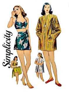 40's Two Piece Bathing Suit Bra Top Sarong Wrap Skirt Beach Jacket Coat Simplicity 1302 Sewing Pattern Non Printed FFolds Size 16 Bust 34