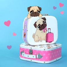 Může být něco roztomilejšího než tenhle mopslík? Vezmeme ho všude s sebou! #pug #suitcase #mopslik