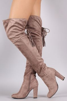 Bamboo Suede Back Tassel Lace Up Chunky Heeled Boots