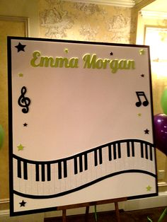 Sign in Boards Music Themed Bat Mitzvah Sign in Board