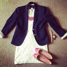 Lace dress + navy blazer + pink jewlery