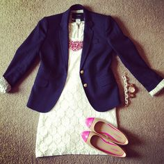 lace dress and navy blazer
