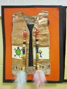 Native American Elementary Art Lesson Vests wi beads and feathers Thanksgiving Art, Thanksgiving Preschool, Native American Projects, Native American Art, Indian Crafts, Thinking Day, Art Lessons Elementary, Art Classroom, Art Plastique