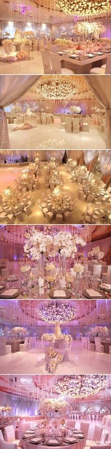 I like the over feel and set up of this hall. The only thing i would change is add a little more color to room with the flowers. The orchid centerpiece is beautiful. I dont know how they hung the crystals from the ceiling through out the entire room. I like the concept of it. Maybe something like that down the isle of the hall?