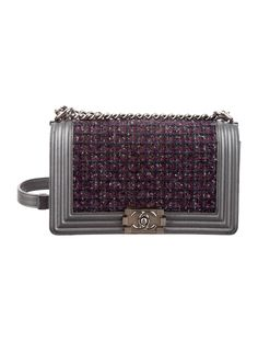 0328fdc198cf6a Metallic purple and multicolor tweed Chanel Medium Boy Bag with ruthenium  hardware, convertible chain-