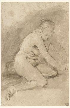 Nude woman kneeling , attributed to Aert de Gelder, 1660 - 1665 Dutch Golden Age, Peter Paul Rubens, Dutch Painters, Rembrandt, Art Google, Museum, Drawings, Study, Painting