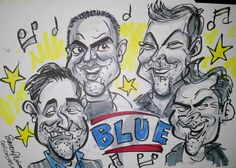 Live Caricatures - Blue - Caricaturist in London, Simon Ellinas, draws live caricatures at The london Chat Show of boy band Blue and other celebrity guests. Photos.