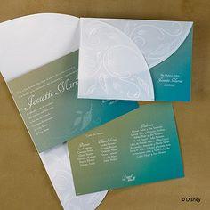 Una tarjeta de colorido está encerrado en una wrap translúcida con hojas de grabadas en relieve mostrados todo alrededor de. #invitacion http://foreverfriends.carlsoncraft.com