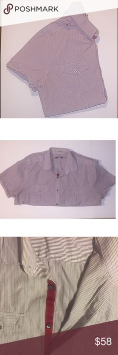 Express Mens Fitted Shirtsleeved Button Down Shirt Men's XL fitted Button Down Shirt. Like new condition. From Express and had two pockets on the front chest, one on each side. Express Shirts Dress Shirts