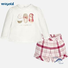 Conjunto de bebe niña MAYORAL bermuda y camiseta manga larga zapatillas