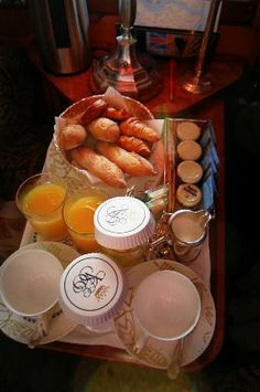 Venice Simplon Orient Express - breakfast in Paris served in cabin probably not gluten free, but oolala!!