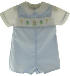 Petit Ami Boys Blue Smocked Birthday Outfit - Hiccups Childrens Boutique