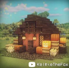 Hi friends! This is my fall themed pumpkin spice cottagecore mini cottage. If you'd like to build it I have a tutorial on YouTube channel. #cottagecore #minecraft #fall #fairycore #pumkinspice #pumkin #Autumn #Halloween #Fall Minecraft Cottage House, Minecraft House Plans, Minecraft Farm, Cute Minecraft Houses, Minecraft House Tutorials, Minecraft House Designs, Amazing Minecraft, Minecraft Construction, Minecraft Survival