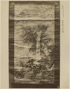Japonia. Pejzaż z wodospadem, malowidło w formie zwoju, 1888-1889