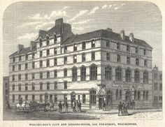 An engraving from 1866 of The Working Men's Club and Lodging-House, Old Pye-Street, Westminster. It looks very foreboding. Would you have liked to have gone there?
