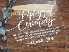 Unplugged Ceremony Sign, Acrylic Wedding Sign, Unplugged Sign, Lucite Sign, Rustic Modern Weddings, 8x10