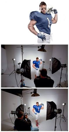 Lighting Recipes: Sports Portrait- In the Studio and with a Composite Photography Lessons, Flash Photography, Sport Photography, Photoshop Photography, Light Photography, Photography Tutorials, Studio Lighting Setups, Photography Lighting Setup, Portrait Lighting