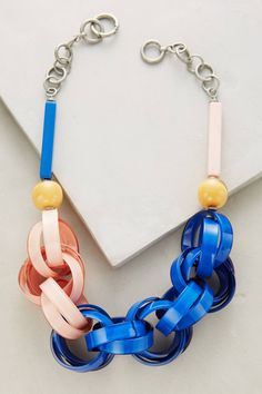 at anthropologie Ellesiv Link Necklace - blue