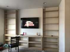 How I Built Custom Built-ins All by Myself! – Crystel Montenegro at Home – Diy living room projects Built In Tv Wall Unit, Built In Shelves Living Room, Tv Built In, Living Room Tv, Built In Computer Desk, Custom Bookshelves, Bookshelves Built In, Bookcases, Bookcase Plans