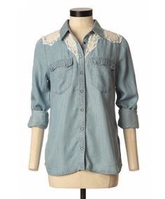 bootlegger.com : guess lace chambray utility top