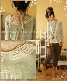 Sew lace on collar of a cardi