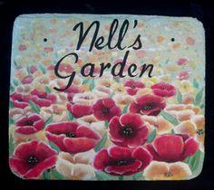{Red Poppy's Garden Sign} www.slatelady.com regina@slatelady.com