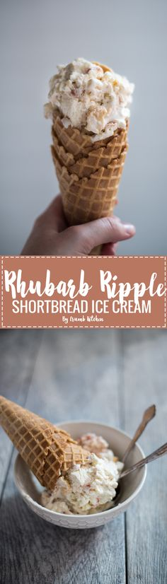 Sweet, tangy rhubarb is folded into vanilla bean ice cream and topped with shortbread cookies in this Rhubarb Ripple Shortbread Ice Cream. | Crumb Kitchen