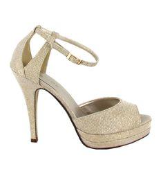 Zapato peep toe con tacón alto y plataforma, en tono Piedra. Elegantísimo, para  ocasiones de fiesta. Ref.5794 //High heel peep toe shoe with platform, in Stone colour. Extremely elegant, for party occasions. Ref.5794
