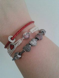 PANDORA Bracelet Trio with Heart Theme!