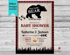 Lumberjack Baby Shower Invitation, Boy Winter Woodland Invite, Little Bear, Animal Fox Moose, Buffalo Plaid, Custom Invitation, C19_c by StrawberryPartyPrint on Etsy