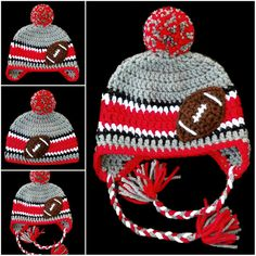 Cozy winter hat for Ohio State football fans made from soft, high quality yarn. A cute gift for baby showers, and fun for kids and adults too.