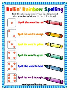 Spelling Pin Rollin' Rainbow Spelling - A Spelling Activity - Layers of Learning. This is a good way to make spelling fun for those students who get tired of the same monotonous ritual. Spelling Word Activities, Spelling Word Practice, 1st Grade Spelling, Spelling Centers, Sight Word Spelling, Spelling Games, Reading Activities, Literacy Centers, Spelling Menu