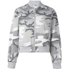 Walter Van Beirendonck Vintage Camouflage Bomber Jacket (1,240 MYR) ❤ liked on Polyvore featuring outerwear, jackets, grey, camo bomber jacket, cotton bomber jacket, grey bomber jacket, vintage jackets and gray bomber jacket
