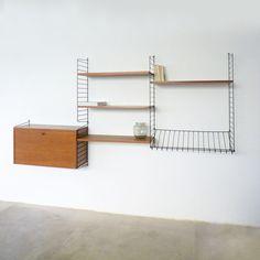vintage Nisse Strinning Wall Unit String Regal shelf teak | midcentury modern