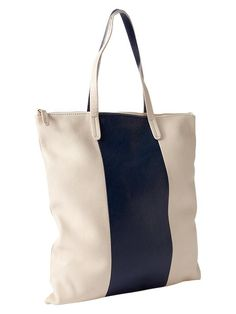 Cream and navy bag with simple wide stripe.