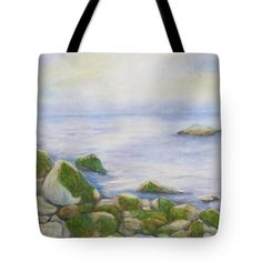 """Ocean Rocks I Tote Bag (18"""" x 18"""") by Sand And Chi  .  The tote bag is machine washable, available in three different sizes, and includes a black strap for easy carrying on your shoulder.  All totes are available for worldwide shipping and include a money-back guarantee."""