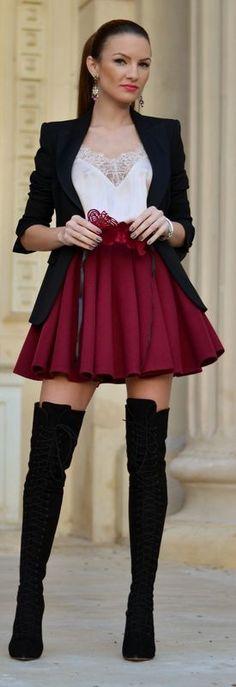 Bordeaux Pleated A-line Mini Skirt by My Silk Fairytale