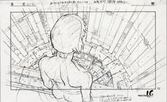 Ghost in the shell, character design by Hiroyuki Okiura and Toshiyuki Inoue Animation Storyboard, Animation Reference, Drawing Reference Poses, Perspective Drawing Lessons, Perspective Art, Drawing Sketches, Art Drawings, Map Sketch, Drawing Faces