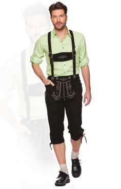 Bavarian leather trousers knee length Justin2 h-beam black