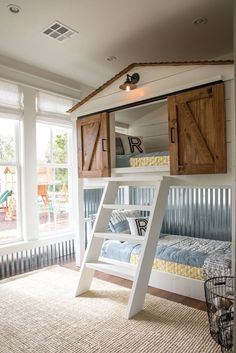Fixer Upper Season 4 Episode 16 The Little Shack on the Prairie Chip and Joanna Gaines Waco, Tx Boys Bedroom Modern Bunk Beds, Cool Bunk Beds, Bunk Beds With Stairs, Kids Bunk Beds, Boys Bunk Bed Room Ideas, Young Boys Bedroom Ideas, Bunk Bed Playhouse, Pallet Playhouse, Metal Bunk Beds